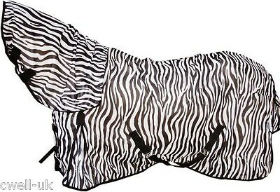 New Horse/Cob/Pony fly rug combo attached neck cover Zebra Print Free fly mask