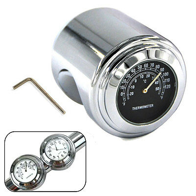 """7/8"""" 1"""" Motorcycle Handlebar Chrome Dial Clock Temp Thermometer For Harley Glide"""