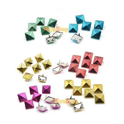 50/100/200pcs Pyramid Spikes  Rivet Studs 8mm 10mm 12mm Spots Punk Craft DIY
