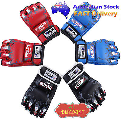 UFC MMA Leather Boxing Gloves Grappling Training Sparring Mitts Thai Punch Fight