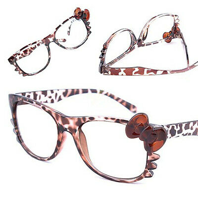 Nerd Classic Leopard Eyewear Costume Glass Frame Cosplay Bow Tie Style No Lenses