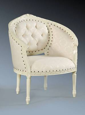 Period Rococo White Ivory Ornate French Single Loveseat Tub Arm Chair Throne