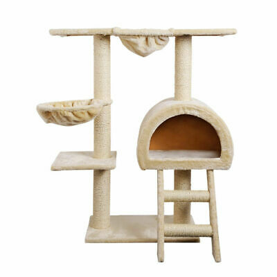 i.Pet Cat Scratching Tree Gym House Furniture Scratcher Pole Toy 100cm Beige S