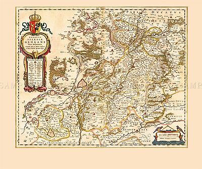 Map Antique 1645 Ducatus Silesia Old Historic Large Replica Poster Print Pam0034