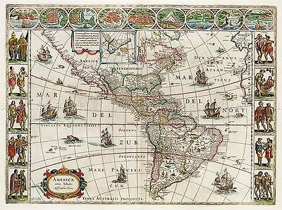 Map Antique 1665 Blaeu Americas Old Historic Large Replica Poster Print Pam0170