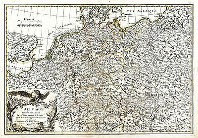 Map Antique 1771 Zannoni Germany Old Historic Large Replica Poster Print Pam0219