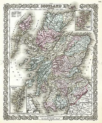 Map Antique 1855 Colton Scotland Old Historic Large Replica Poster Print Pam0325
