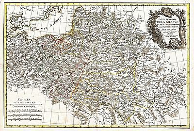 Map Antique 1771 Zannoni Poland Lithuania Old Large Replica Poster Print Pam0220