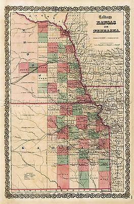 Map Antique Colton 1855 Kansas Nebraska Old Large Replica Poster Print Pam0832