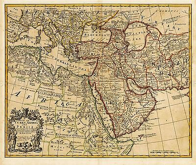 Map Antique L'isle 1721 Turkey Arabia Persia Large Replica Poster Print Pam0974