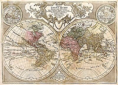 Map Antique L'isle 1775 World Atlas Historic Large Replica Poster Print Pam0976