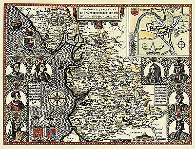 Map Antique Speed 1610 Lancashire Hundreds Old Large Repro Poster Print Pam1224
