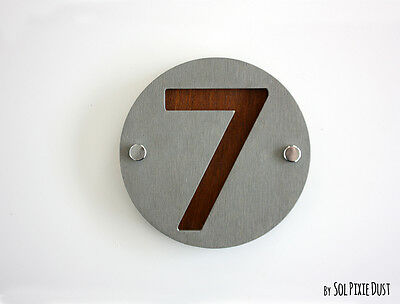 Modern House Numbers Sign One Number Square Concrete with Orange Acrylic