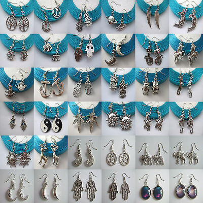 1 Pair Tibetan Silver Wiccan Pagan Charms Earrings With Antique Silver Hooks