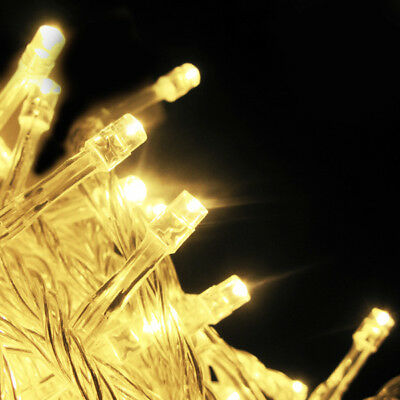 Quality Solar Powered 17M 100LED Warm White String Fairy Lights Outdoor Garden