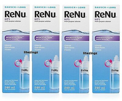 NEW 1, 2, 3 or 4 x 240ml Bausch & Lomb ReNu MPS Contact Lens Solution SENSITIVE