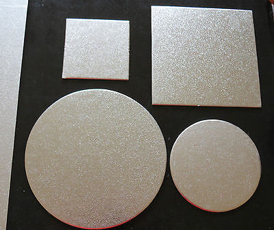 """Cardboard Cake Board  Round / Square Silver  Thickness 2mm size: 3""""4""""5""""6""""7"""" inch"""