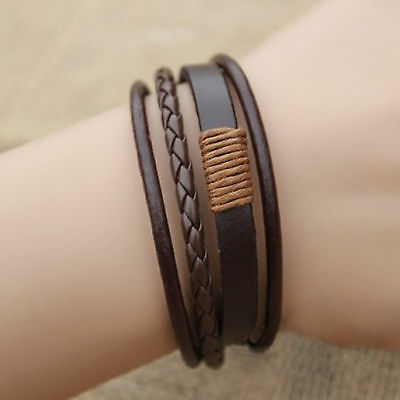 High Hot Retro Multilayer Leather Wristband Bracelet Cuff Charm Bangle Men Women