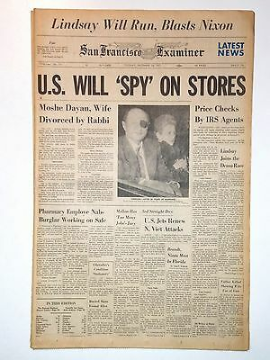 MOSHE DAYAN, Wife Divorced by Rabbi  12/28/1971 - SF Examiner - US Spy on Stores