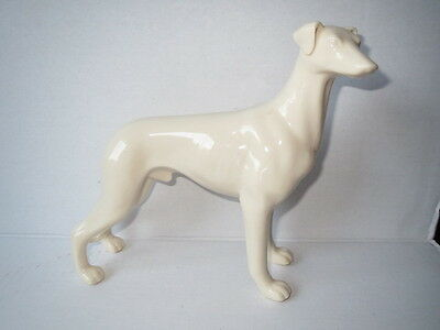 Vtg Fine Porcelain SCULPTURE White Male WHIPPET GREYHOUND DOG Beautiful RARE!