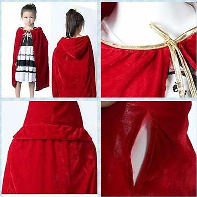 Cloak Hooded Velvet Cape Children Kids Medieval Costume Halloween Fancy Dress B