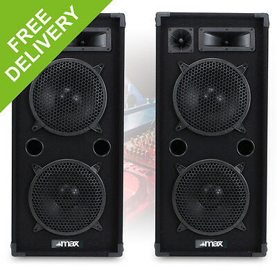 "Pair MAX210 Dual 10"" Inch DJ PA Party Disco Sound System Speakers 1800W"