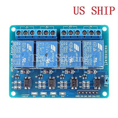 SainSmart 4-Channel 5V Relay Module With Optocoupler For Arduino DSP AVR PIC ARM