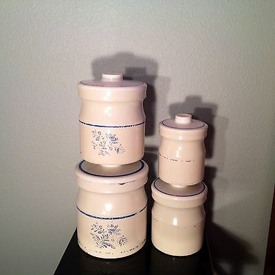 1950's 4 PIECE MILK CAN CANISTER SET ADORABLE IN BLUE & WHITE STACKABLE