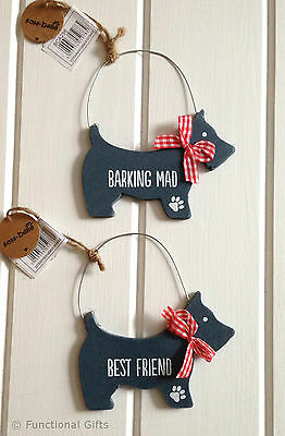 Shabby Chic Scottie Dog Sign Wall Plaque - Best Friend Barking Mad Sass & Belle
