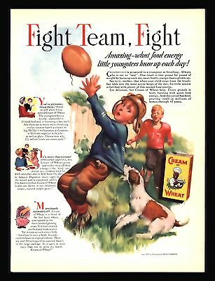 "Original 1937 ""cream Of Wheat "" Boy Football Team Player  Dog  Antique Print Ad"
