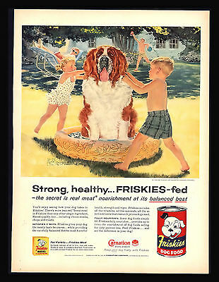 "Original 1957 ""friskies Dog Food"" St. Bernard Dog Children  Vintage Art Print Ad"
