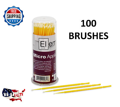 100 Micro Applicator Microapplicators Microbrush Dental - SMALL / YELLOW EHROS