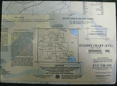 Large Us Military Escape Evasion Chart Map Evc Nh-38E Iraq Iran Kuwait 2002 Oif