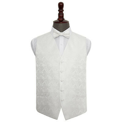 DQT Woven Floral Paisley Ivory Mens Wedding Waistcoat & Bow Tie Set