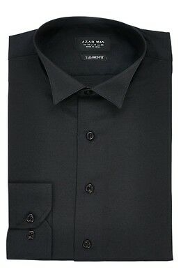 New Mens Dress Shirt Black Tuxedo Wing Tip Tailored Slim Fit Wrinkle Free AZAR