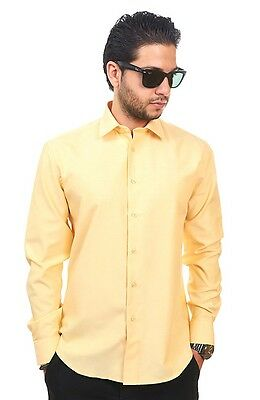 New Mens Dress Shirt Solid Yellow Tailored Slim Fit Wrinkle Free Cotton AZAR MAN