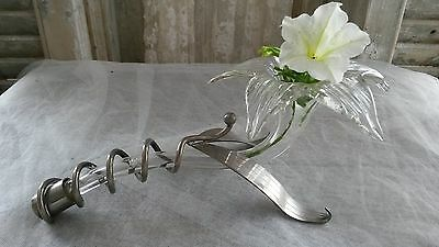 Gorgeous,French,antique,art deco,lying, orchid vase,glass and silver plated,Rare