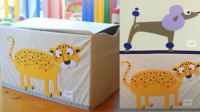 3 Sprouts Toy Chest KIDS 5 Fun Animal Designs Foldable 60x37x38cm Durable Cute