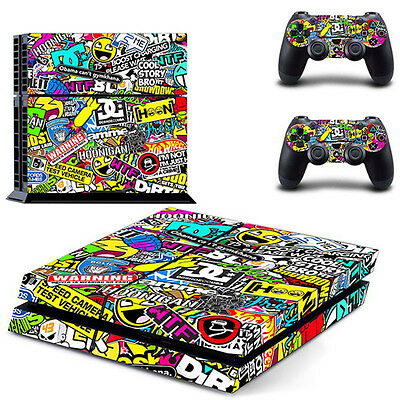 Colorful Game Decal Cover Skin Sticker For PS4 PlayStation Console+2 Controller