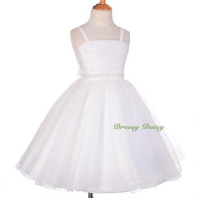 Spaghetti Strap Pearls Diamante Princess Wedding Flower Girl Dress Size 3-8 #285
