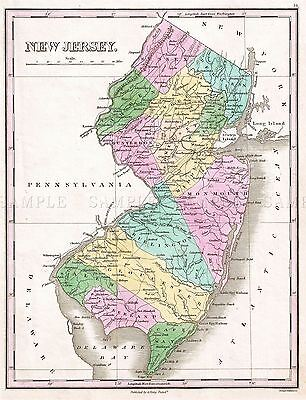 Map Antique 1827 Finley New Jersey Historic Large Replica Poster Print Pam1677