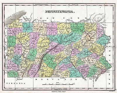Map Antique 1827 Finley Usa State Pennsylvania Large Repro Poster Print Pam1679