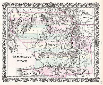 Map Antique 1855 Colton New Mexico Utah Usa Large Replica Poster Print Pam1741
