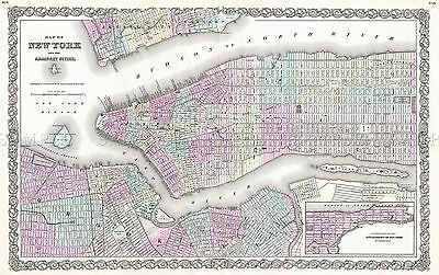 Map Antique 1855 Colton New York City Plan Large Replica Poster Print Pam1742