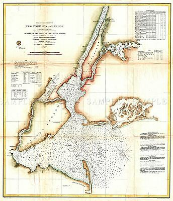 Map Antique 1857 Uscs New York Bay Harbour Staten Replica Poster Print Pam1772