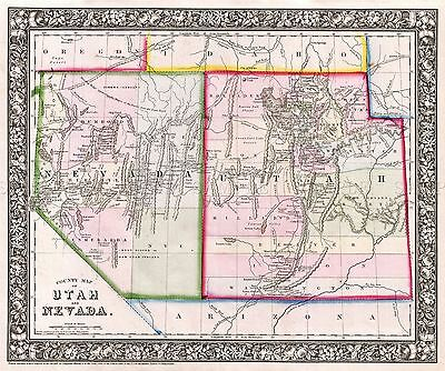 Map Antique 1866 Mitchell Utah Nevada Historic Large Repro Poster Print Pam1870