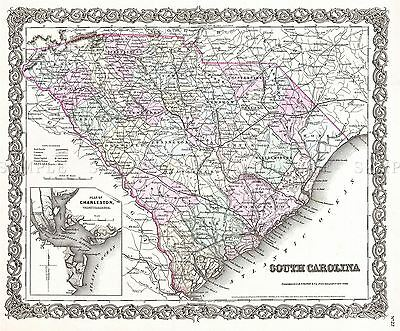 Map Antique 1855 Colton South Carolina State Usa Replica Poster Print Pam1748