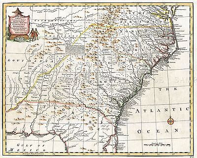 Map Antique 1747 Bowen South East United States Usa Replica Poster Print Pam1638