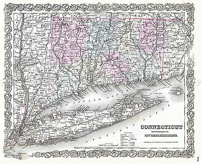 Map Antique 1855 Colton Connecticut New York Large Replica Poster Print Pam1732