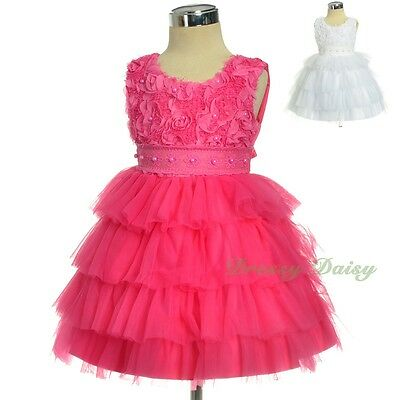 Pearls Satin Tulle Formal Dress Flower Girl Party Wedding Birthday Size 1-4 #322